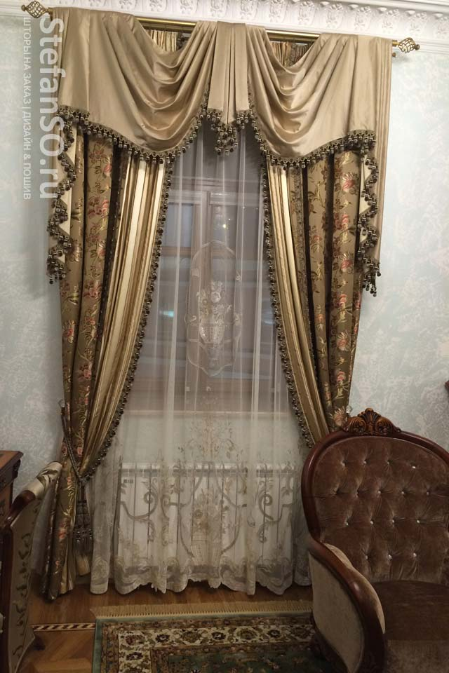Гостиная комната шторы шелковые
