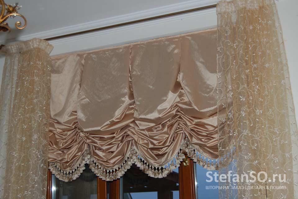 Австрийские шторы, с мягкими складками