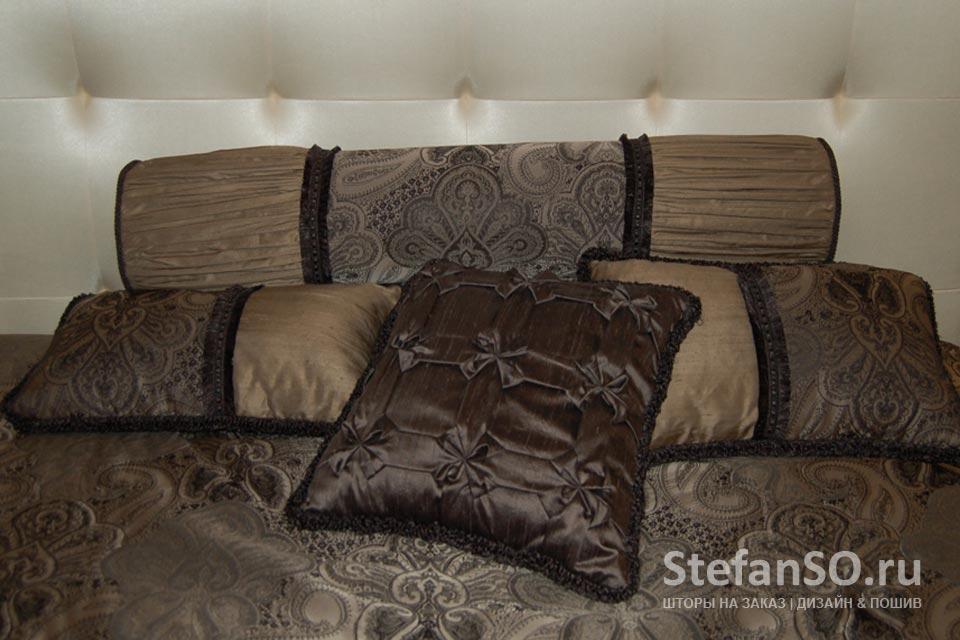 Подушки из дикого шелка Ручная работа в шоколадно-сливочных оттенках